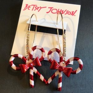 NWT Betsey Johnson Candy Cane Drop Earrings